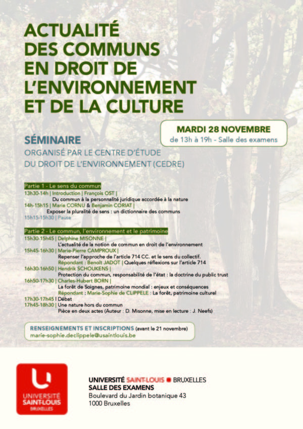 28 novembre. Séminaire : Actualités des communs en droit de l'environnement et de la Culture