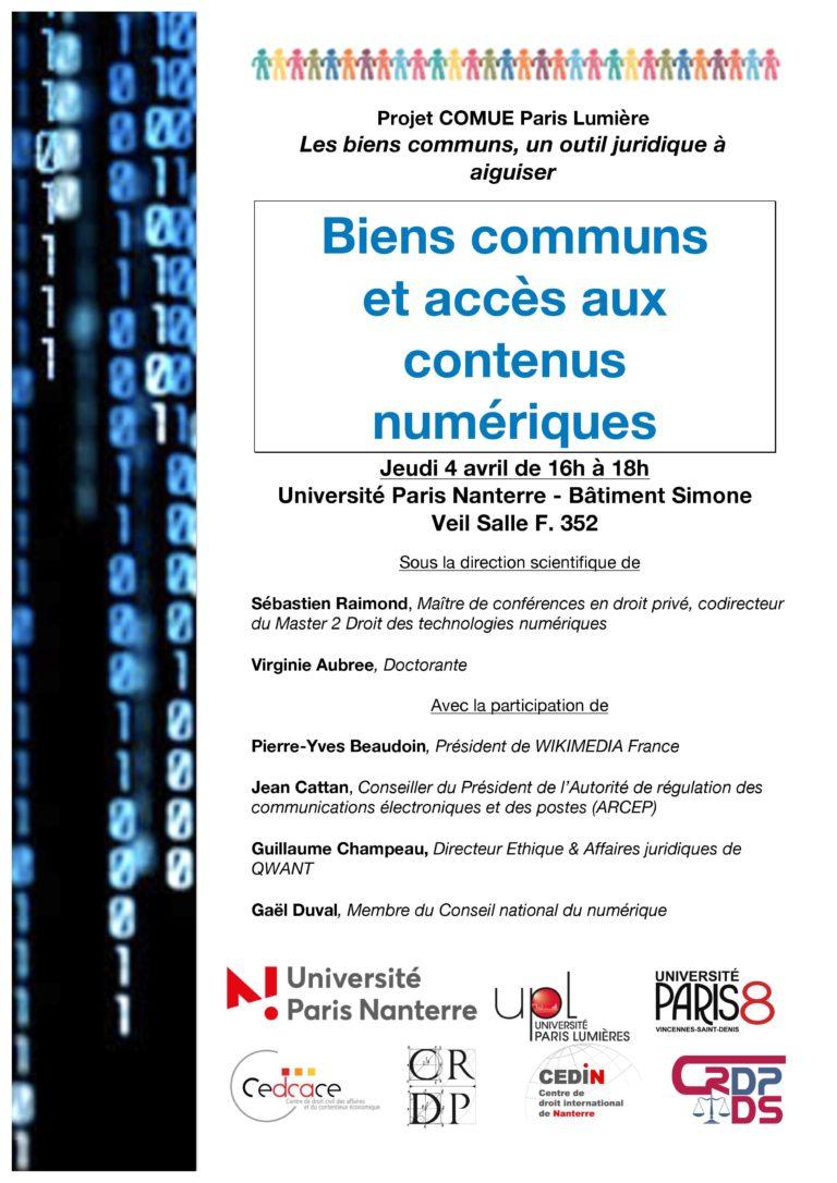 """Conférence – Projet """"Biens communs"""" : Biens communs et accès aux contenus numériques, 4 avril 2019"""