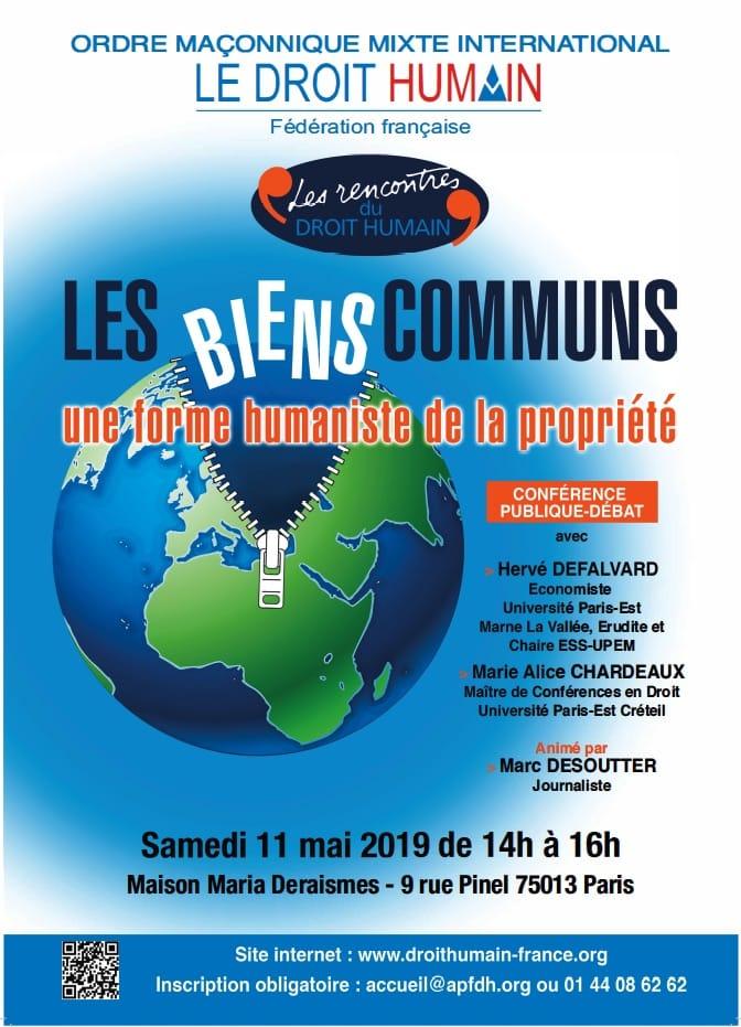 Les biens communs – Conférence-débat le 11 mai 2019 à 14h
